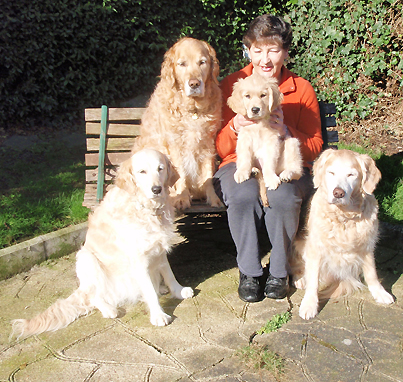 Sue with Honey, Ripley, Daisy & Darcy